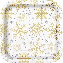***Silver & Gold Holiday Snowflakes 9in Plate
