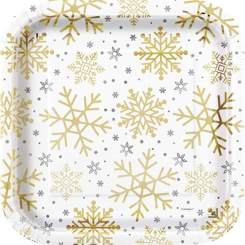Silver & Gold Holiday Snowflakes 9in Plate