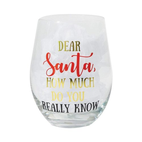 Mary Square Dear Santa How Much Stemless Wine Glass
