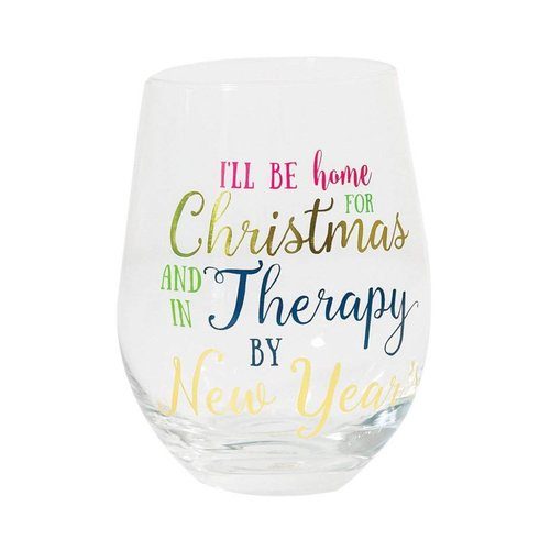 Mary Square I'll be Happy for Christmas Stemless Wine Glass