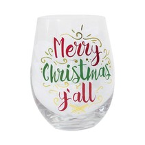 Merry Christmas Y'all Stemless Wine Glass