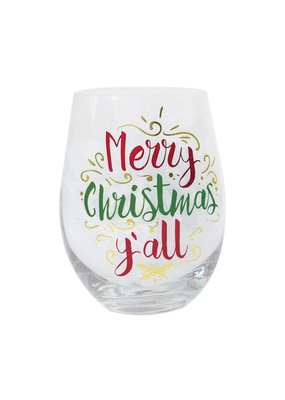 Mary Square Merry Christmas Y'all Stemless Wine Glass