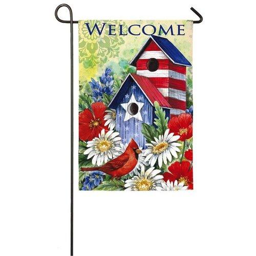 Patriotic Birdhouse & Cardinal Garden Sub Suede Flag