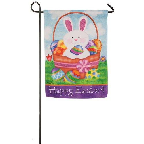 Bunny Basket Garden Suede Flag