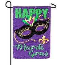 Happy Mardi Gras Garden Applique Flag