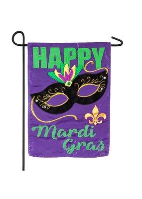 ***Happy Mardi Gras Garden Applique Flag