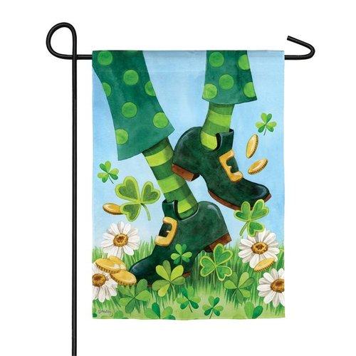 Leprechaun Shoes Garden Satin Flag