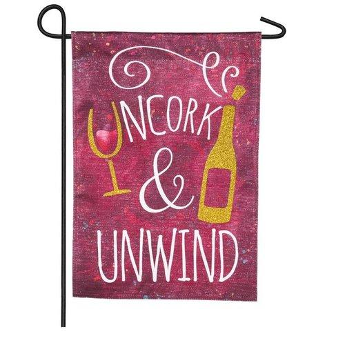 Uncork and Unwind Garden Linen Flag