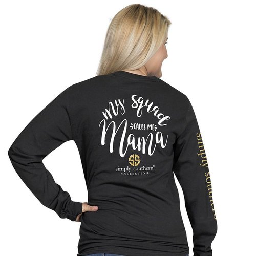 Long Sleeve Preppy Mama Black
