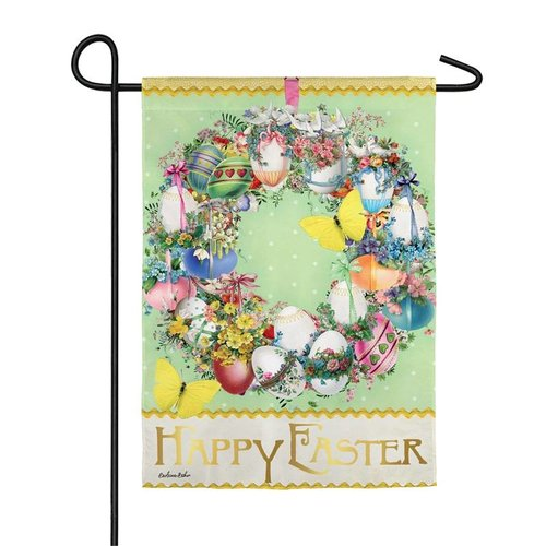 Easter Wreath Garden Suede Flag