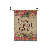 Home Sweet Home Plaid Garden Linen Flag