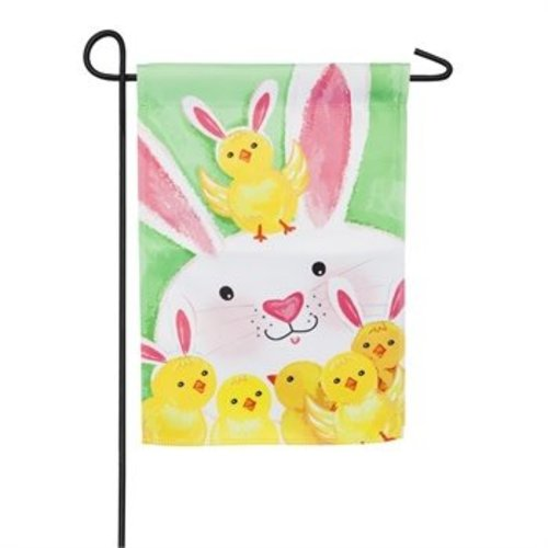 Bunny and Chicks Garden Satin Flag