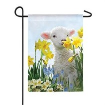 ***Spring Lamb Garden Satin Flag