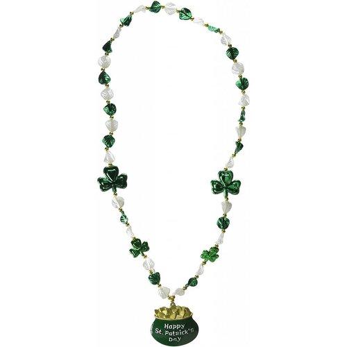Shamrock Beads w/Pot-O-Gold Medallion