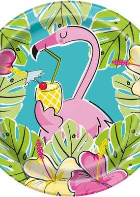 "***Summer Pineapple & Flamingo 7"" Dessert Plate"