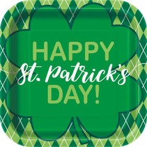 ***Happy St. Patrick's Day Argyle 9in Square Plate