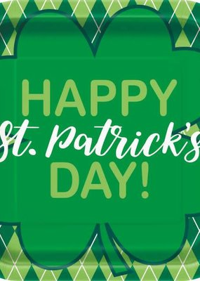 "***Happy St. Patrick's Day Argyle 9"" Square Plate"