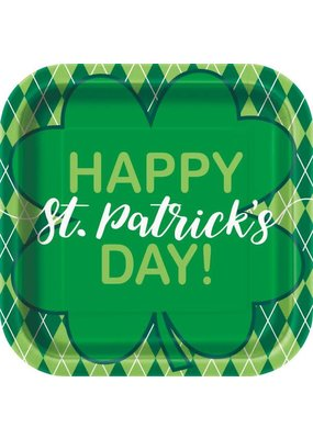 "***Happy St. Patrick's Day Argyle 9"" Square Plate"