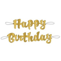 Happy Birthday Gold Script Banner