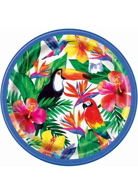 "***Palm Tropical Luau 9"" Dinner Plates 8ct"