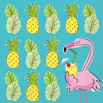 ***Summer Pineapple & Flamingo Lunch Napkins