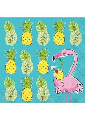 ***Summer Pineapple & Flamingo Lunch Napkins