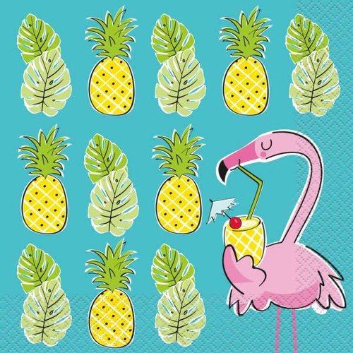 Summer Pineapple & Flamingo Lunch Napkins