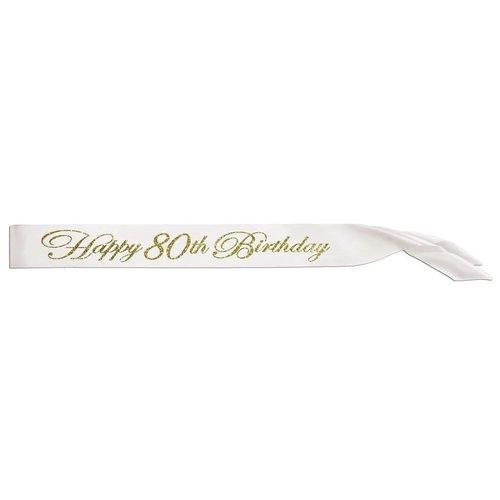 Happy 80th Birthday Glittered Sash