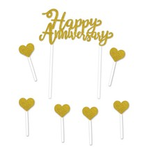 Gold Glitter Happy Anniversary Cake Topper