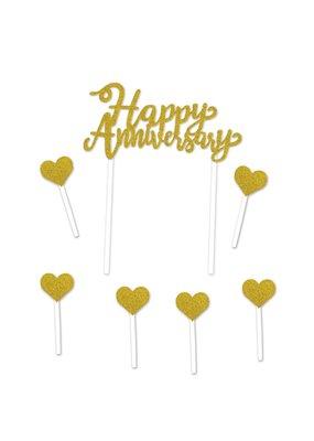***Gold Glitter Happy Anniversary Cake Topper