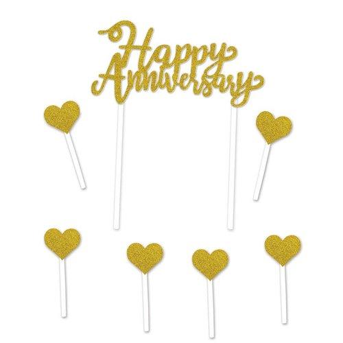 Gold Glitter Happy Anniversary Cake Topper