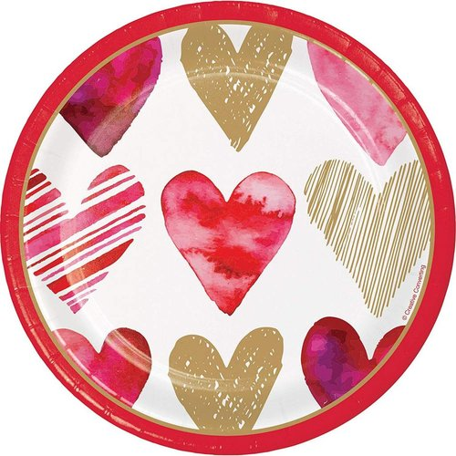 Watercolor Hearts 7in Plate