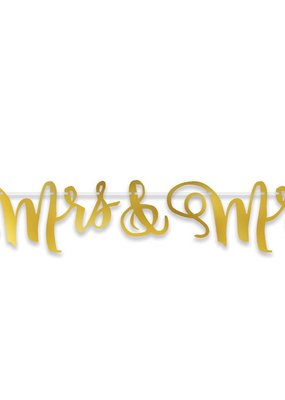 ***Mrs & Mrs Foil Streamer Banner