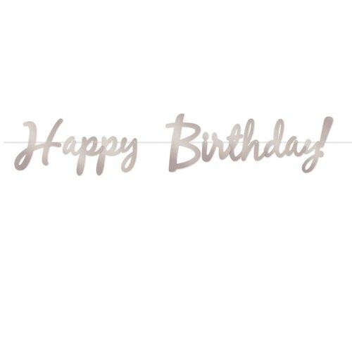 Silver Happy Birthday Foil Streamer