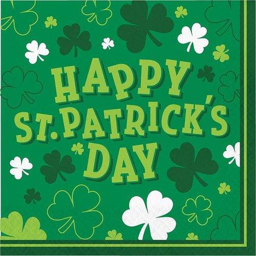 Happy St. Patrick's Day Shamrock Lunch Napkins