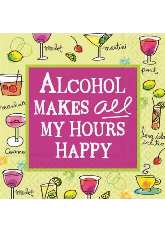 Design Design ***Alcohol Makes ALL My Hours Happy Cocktail Napkins