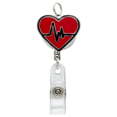 Laura Jenelle Retractable Red Heart Badge Reel