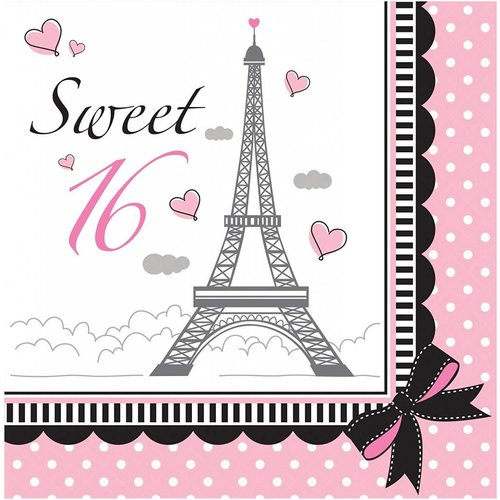 Party in Paris Sweet 16 Lunch Napkins