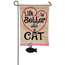 ***Life is Better with Cat Garden Burlap Flag