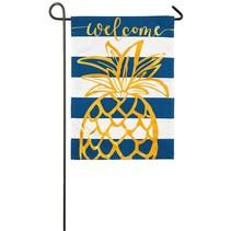 ***Pineapple Stripe Garden Linen Flag