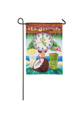 ***It's 5 O'Clock Garden Suede Flag