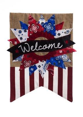 ***Patriotic Banner Welcome Garden Burlap Flag
