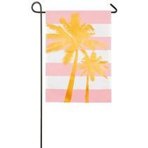 ***Palm Tree Stripe Garden Linen Flag
