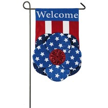 ***Patriotic Flower Garden Burlap Flag