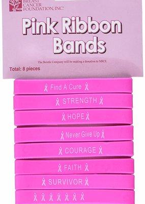 ***Pink Ribbon Rubber Bracelets 8ct