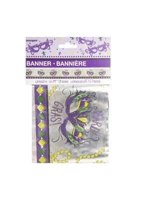 ***Jazzy Mardi Gras Foil Banner 12ft