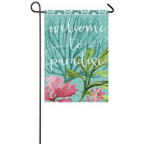 ***Sea Green Paradise Garden Suede Flag