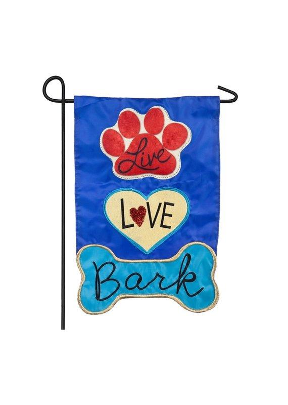 ****Live Love Bark Garden Applique Flag