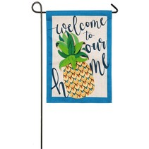 *Welcome to Our Home Pineapple Garden Burlap Flag
