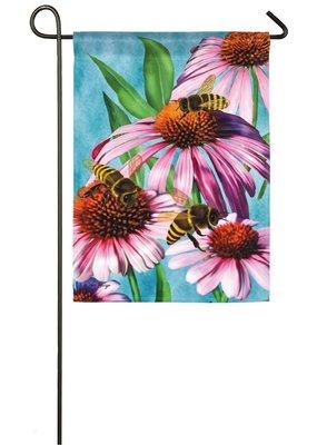 ***Bees and Coneflower Garden Satin Flag